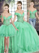 Sophisticated Apple Green Three Pieces Beading and Ruffles Sweet 16 Dress Lace Up Tulle Sleeveless Floor Length