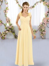 Sexy Floor Length Lace Up Vestidos de Damas Yellow for Wedding Party with Hand Made Flower