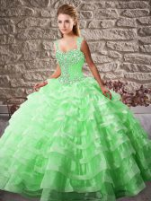 Flare Green Ball Gowns Organza Straps Sleeveless Beading and Ruffled Layers Lace Up 15th Birthday Dress Court Train