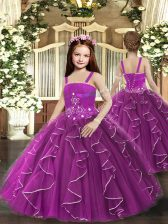 Purple Lace Up Straps Ruffles Little Girl Pageant Gowns Tulle Sleeveless