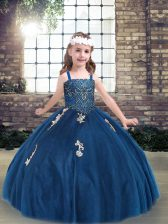 Floor Length Blue Pageant Dress Tulle Sleeveless Appliques