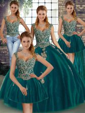 Peacock Green Straps Lace Up Beading and Appliques Sweet 16 Dresses Sleeveless