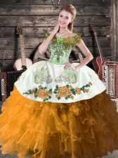 Brown Off The Shoulder Neckline Embroidery and Ruffles Sweet 16 Quinceanera Dress Sleeveless Lace Up