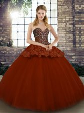 Ball Gowns Quinceanera Dresses Rust Red Sweetheart Tulle Sleeveless Floor Length Lace Up