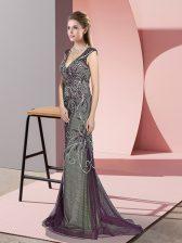 Glorious Tulle V-neck Sleeveless Sweep Train Zipper Beading Prom Dress in Dark Purple