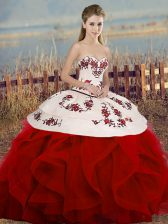 Superior Sweetheart Sleeveless Lace Up Quinceanera Gown White And Red Tulle