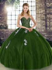 Deluxe Olive Green Sweetheart Lace Up Beading and Appliques 15th Birthday Dress Sleeveless