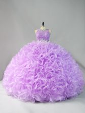 Dynamic Beading and Ruffles 15 Quinceanera Dress Lavender Zipper Sleeveless Floor Length