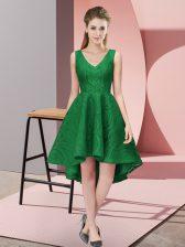 Designer High Low Dark Green Quinceanera Dama Dress Lace Sleeveless Lace