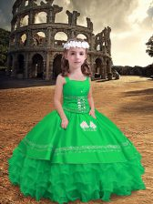 Green Straps Zipper Embroidery and Ruffled Layers Kids Pageant Dress Sleeveless