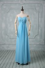 Sophisticated Baby Blue Chiffon Backless Sweetheart Sleeveless Floor Length Prom Dresses Beading and Ruching