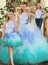 Top Selling Multi-color Three Pieces Ruffles Quince Ball Gowns Backless Tulle Sleeveless Floor Length