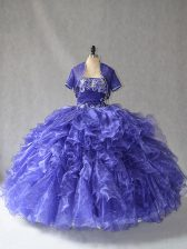 Elegant Floor Length Lace Up Sweet 16 Dress Blue for Sweet 16 and Quinceanera with Beading and Ruffles