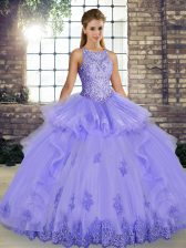 Lavender Ball Gowns Scoop Sleeveless Tulle Floor Length Lace Up Lace and Embroidery and Ruffles 15th Birthday Dress