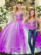 Great Floor Length Lilac Quince Ball Gowns Tulle Sleeveless Beading