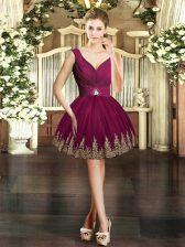 Mini Length Burgundy Prom Dresses V-neck Sleeveless Backless