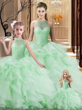 Brush Train Ball Gowns Quinceanera Dress Apple Green Halter Top Organza Sleeveless Lace Up