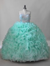 Sweetheart Sleeveless Fabric With Rolling Flowers Ball Gown Prom Dress Beading Brush Train Lace Up