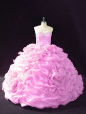 Best Selling Lilac Sleeveless Beading and Pick Ups and Hand Made Flower Lace Up Sweet 16 Quinceanera Dress