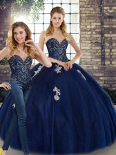 Sleeveless Beading and Appliques Lace Up Vestidos de Quinceanera