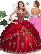 Amazing Organza Sweetheart Sleeveless Lace Up Beading and Appliques and Pick Ups Vestidos de Quinceanera in Wine Red