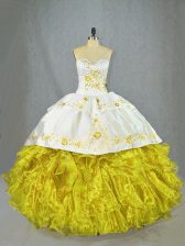 Glorious Yellow Sleeveless Beading and Embroidery and Ruffles Lace Up Quince Ball Gowns