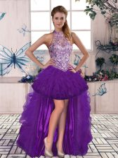 Fabulous Tulle Halter Top Sleeveless Lace Up Beading and Ruffles Evening Dress in Purple