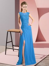 Modern Chiffon Scoop Sleeveless Zipper Lace and Appliques Prom Dresses in Blue