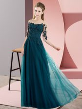 Peacock Green Bateau Neckline Beading and Lace Dama Dress for Quinceanera Half Sleeves Lace Up