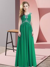 Beauteous Chiffon Straps Cap Sleeves Lace Up Beading Prom Dresses in Green