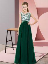 Fitting Dark Green Empire Beading and Appliques Quinceanera Dama Dress Zipper Chiffon Sleeveless Floor Length