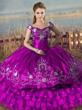 Sleeveless Floor Length Embroidery and Ruffled Layers Lace Up 15 Quinceanera Dress with Purple
