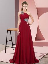 One Shoulder Sleeveless Brush Train Lace Up Wine Red Chiffon