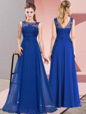 Traditional Royal Blue Empire Beading and Appliques Damas Dress Zipper Chiffon Sleeveless Floor Length
