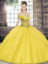 Superior Gold Lace Up Sweet 16 Dresses Beading and Ruffles Sleeveless Floor Length