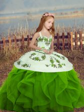 Spaghetti Straps Sleeveless Little Girls Pageant Dress Embroidery and Ruffles Lace Up
