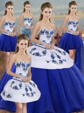 Charming Sleeveless Tulle Floor Length Lace Up Quinceanera Dress in Royal Blue with Embroidery and Bowknot