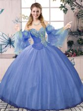 Designer Blue Ball Gowns Beading Vestidos de Quinceanera Lace Up Tulle Sleeveless Floor Length
