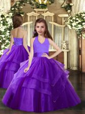 Sleeveless Lace Up Floor Length Ruffled Layers Little Girls Pageant Gowns