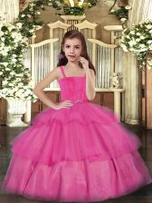Sleeveless Lace Up Floor Length Ruffled Layers Pageant Gowns For Girls