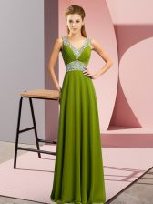 Olive Green Lace Up Prom Party Dress Beading Sleeveless Floor Length