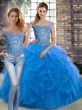 Blue Lace Up Off The Shoulder Beading and Ruffles Quince Ball Gowns Tulle Sleeveless Brush Train