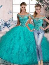 Aqua Blue Off The Shoulder Lace Up Beading and Ruffles 15 Quinceanera Dress Brush Train Sleeveless