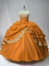 Decent Floor Length Lace Up Quinceanera Dresses Brown for Sweet 16 and Quinceanera with Beading and Appliques and Pick Ups