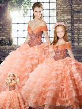 Vintage Peach Off The Shoulder Neckline Beading and Ruffled Layers Quince Ball Gowns Sleeveless Lace Up