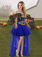 Superior Royal Blue A-line Embroidery Homecoming Dress Lace Up Tulle Sleeveless High Low