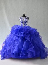 Royal Blue Sleeveless Organza Lace Up Quinceanera Gowns for Sweet 16 and Quinceanera