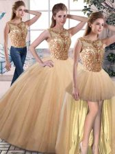 Gold Sleeveless Floor Length Beading Lace Up Sweet 16 Quinceanera Dress