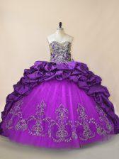 Fabulous Purple Lace Up Sweet 16 Dress Beading and Pick Ups Sleeveless Brush Train