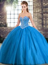 Sleeveless Tulle Brush Train Lace Up Sweet 16 Dress in Baby Blue with Beading